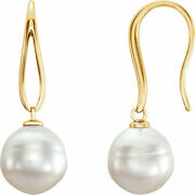 14kt Yellow Gold And Genuine Paspaley South Sea Pearl Earrings New Unique Hooks