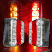 Pair 12v Led Rear Tail Lights Lamp 5 Function Trailer Caravan Truck Lorry 14 Led