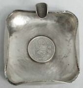 1871 And 1867 Peruvian Coin Hand Made Heavy Sterling Silver Ash Tray