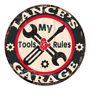 Cgtr-0245 Lanceand039s Garage Tools Rules Tin Sign Man Cave Decor Gift For Men