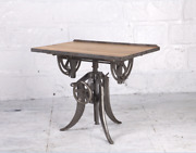 35 L Old Mill Office Desk Reclaimed Hardwood Recycled Cast Iron Hand Crank Base