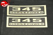 Chevy 345 Horsepower Black And Gold Valve Cover Decals Pair