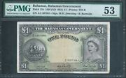 Bahamas Andpound1 P15b 1953 Pmg 53 About Uncirculated