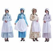 Vintage Colonial Civil War Womenand039s Pioneer Costume Outfit Puritan Dress With Hat