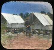 Antique Glass Slides Lot 3 Americana Soldiers Camp War Red Cross Nurse Wounded