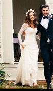 Vintage Sheath Long Sleeves Lace Country Wedding Dress V-back Bridal Gowns 2019
