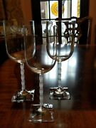 Mikasa Viewpoint Satin Frosted Square Base Stem Crystal 3 Sizes 4 Goblets