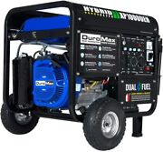 Duromax 10,000-watt Portable Dual Fuel Gas Powered Generator With Electric Start