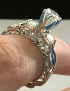 Vintage Style Diamond Ring 14k White Gold Total Weight 4.1 Grms. Tcw .90