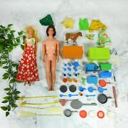 Lot Of 30+ Pieces Of Vintage Early Barbie And Ken And Kitchenware And Utensils Good