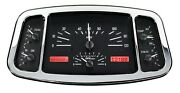 1933 -34 Ford Coupe Roadster Dakota Digital Silver Alloy And Red Analog Gauge Kit