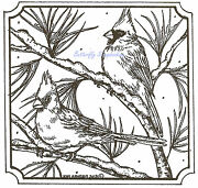 Birds Cardinals On Pine In Snow Wood Mounted Rubber Stamp Northwoods Pp9311 New