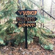 Barbecue Bbq Party Directional Lawn Ornament Sign - Carved Cedar Wood Decor