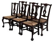 20th C Set Of 6 Chippendale Antique Style Ball And Claw Dining Chairs Rush Seats
