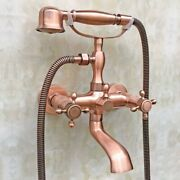 Antique Red Copper Bathtub Faucet 2 Handles Mixer Claw Foot Hand Held Shower