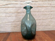 Vtg Blenko Crackle Glass Pinch Decanter In Rare 1950s Wayne Husted Charcoal