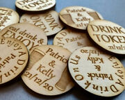 Personalised Birch Drink Tokens Wedding Favours Circlesparty Celebration Wooden