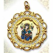 Perpetual Help 10kt Gold Framed Hand Painted Porcelain And Enamel Medal 1 3/8x1