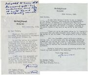 Typed, Signed Letters From Camrose To Flower Regarding Churchill's Wwii Memoirs