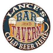 Cpbt-0245 Lanceand039s Bar N Tavern Cold Beer Here Sign Fatherand039s Day Gift For Man