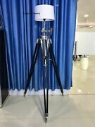 Vintage Hollywood Studio Marine Searchlight With Chrome Tripod Floor Lamp Stand