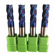 4pcs Andphi1640 Hrc65 Nano Coating High Hardness Tungsten Steel Carbide End Mills
