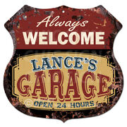 Bpmg0245 Welcome Lanceand039s Garage Rustic Sign Fatherand039s Day Gift Ideas For Man