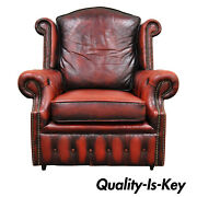 Rolled Arm Tufted Red Leather English Chesterfield Club Office Lounge Arm Chair