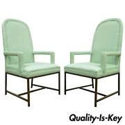 Pair Modern Upholstered Arm Chairs Brushed Brass Metal Base Milo Baughman Style