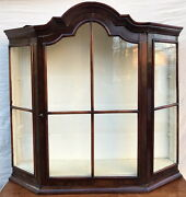18th C William And Mary Period Antique Wall Cabinet / Vitrine W/tombstone Bonnet