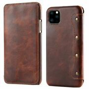 Genuine Leather Wallet Case Cover Fr Iphone 12 Samsung Galaxy S20 Huawei Mate 20