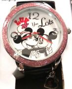 Mickey And Minnie Mouse Watch Disney Hanging Charms With Tin Case Analog New