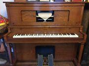 Antique 1907 Aeolina Player Piano, 30 Scrolls, Metronome - Works Great