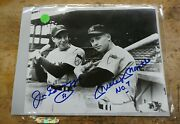 Joe Dimaggio And Mickey Mantle Yankees Bandw 8x10 Photo W/57 And No.7 Inscriptions