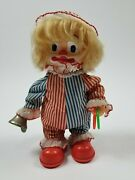 Vintage Skating Clown Doll 9.5 Red White Blue Bell Rolling Shoes Collectible