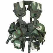 Mil-tec Us Upholstered Tactical Army Load Bearing Vest 6 Pouches Woodland