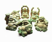 Rare Set Smiling Buddha 6 Postures Antique Chinese Laughing Buddhism Statues