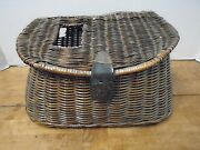 Vintage Creel Fishing Leather Wicker Basket Canvas Strap Trout Metal