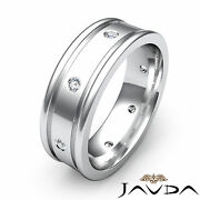 Mens Round Diamond Solid Ring 18k White Gold Eternity Wedding Dome Band 0.15ct