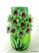 Andrea Marcus Green Lady Slipper Orchid Studio Art Glass Vase - Signed Dated
