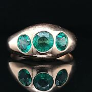 Vintage 14k Yellow Gold Ring Natural Round Green Emerald 2.35ct