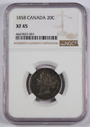 Canada 1958 20 Cent 20c Coin Ngc Xf45 Km 4 Nicely Toned Queen Victoria
