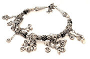 Antique Yemen Mixed Silver Granulated Black Coral Beads Necklace Circa 1930s