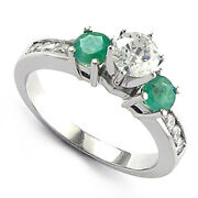Emerald And Diamond Engagement Ring 14k White Gold Ring Sizes 4 To 9.5 R609