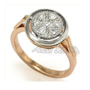 Old Russian Style Diamond Engagement Ring 14k Rose Gold Ring Size 4 To 9.5 1397