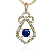 Russian Style Genuine Diomond And Saphirependant In 14k Yellow Gold P928