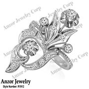 Russian Style Jewelry Genuine Diamond Ring In 14k Solid White Gold 4 To 9.r1912