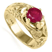 Menand039s Solid 14k 10.0 Grams Yellow Gold And Natural 1.50 Cwt Ruby Ring R1821