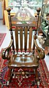 Large Wood Rocking Chair 76 Flanked By Cannon - Motifs Bicentennial Edition