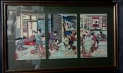 Antique Japanese Woodblock Print Triptych Signed Migita Toshihide Framedrare...